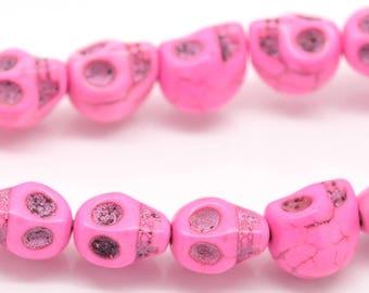 Pink set of 10 skeleton howlite turquoise skull beads