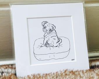 Pug Art Print, Dog drawing, Pug Drawing, cute pug, pug eyes, dog art