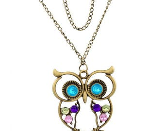 OWL/openwork pendant with Rhinestones - with its chain 64cm - 5x4.2cm color bronze