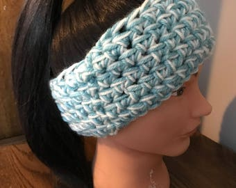 Crocheted Ear Warmer Headband, Crocheted Ear Muffs, Handmade Winter Headband, Winter 2017, Blue Headband, Women's Headband, Women's Ear Muff