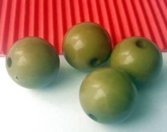 2 beads round Kaki acrylic 15 mm (M74)