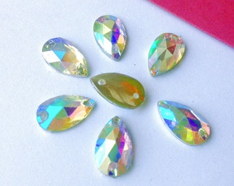 RHINESTONE drop has sewing multiple reflections 11 x 6 mm resin 8 rhinestones (W59)
