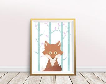 Fox Art, Nursery decor, Woodland Animal, Printable Wall Decor,   Instant Download, kids room, wall art decor, woodland print