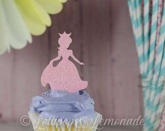 Princess cupcake toppers, glitter cardstock, qty 12, 1 dozen