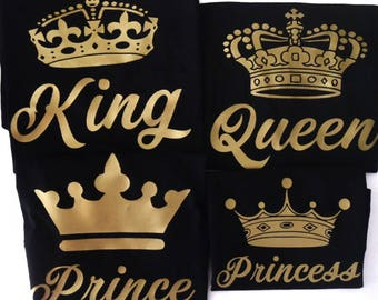 King Queen Princess Prince Shirt Black Gold Family Royal Crown Couples
