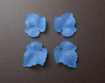 Set of 4 beads, charms or pendants leaf blue