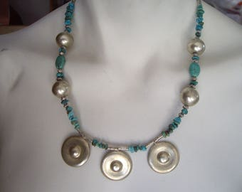 Tibetan ethnic necklace made of genuine turquoise and silver in Burma