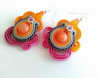 Cute soutache earrings, orange jade