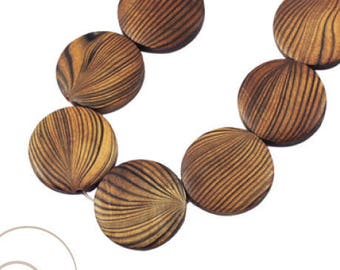 Set of 4 wooden beads, round 25 mm in diameter, 5 mm thick, hole: 2 mm