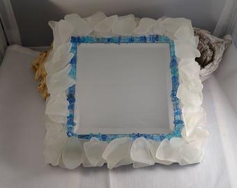 white genuine seaglass mirror with multi-blue beads