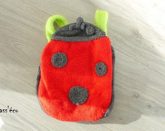 hand knitted Ladybug backpack