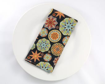 Organic Cotton Sateen Reversible Cloth Napkins--Tribal Geometric (Eco-friendly Napkins, Reusable Napkins, Casual Dinner Napkins) Set of 4