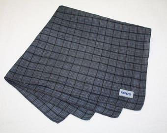 Kenzo Gray Plaid Pattern Handkerchief