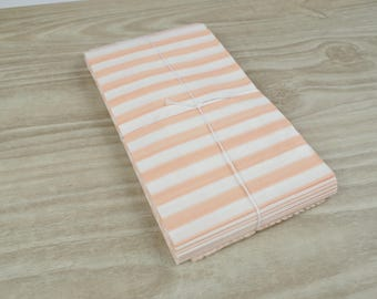 Pouches gift bags - set of 10 - white horizontal stripes paper peach 9 x 15 cm for gifts, jewelry, sweets.