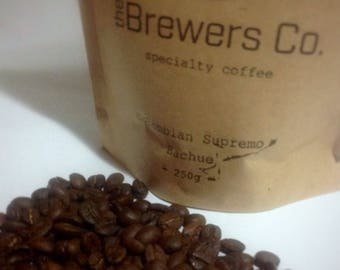 Coffee beans roasted, whole. Columbian Supremo Bachue. A variety of sizes available