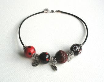 Handmade red and black fashion necklace