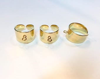Ring holder ring 12mm fine gold for creations of jewels