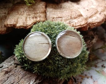 White Birch in Resin Post Earrings, Silver Tone, 12mm, Botanical Jewelry, Wearable Herbarium