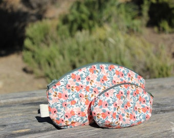 Makeup purse set, 2 cotton cosmetic bag set, floral print, gift set for woman