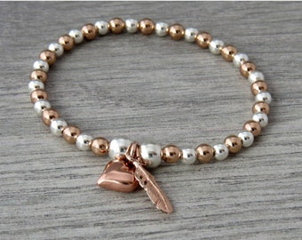 Feather Bracelet, Feather and Heart Rose Gold Stretch Bead Bracelet