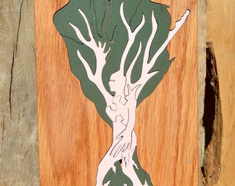 Hand crafted Tree of Life rosa tree with grey and natural background