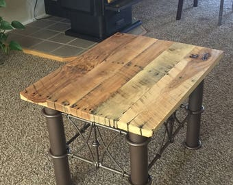 Pallet table from reclaimed hardwood pallet
