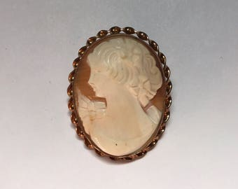 Carved Shell Cameo Vintage Brooch