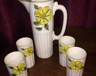 Antique Lemonade / Water Pitcher / Teapot and 4 Cups Set