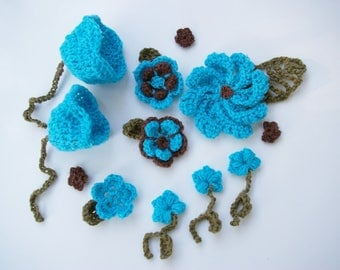Blue decorative flowers turquoise and Brown crochet