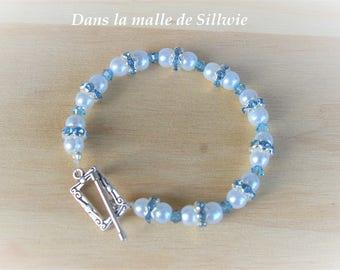 Bracelet blue and white glass Pearl and swarovski crystal