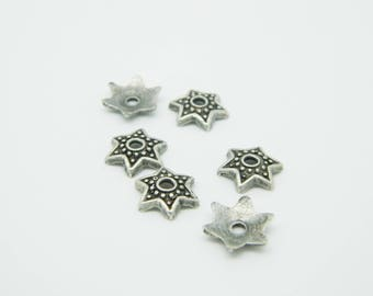 6 x 9mm (l876) silver metal star dish