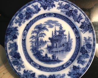 Late 1800's Doulton Madras blue & white plate