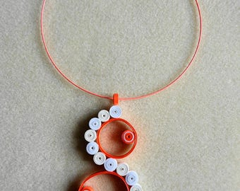 Quilling coral and white geometric Choker