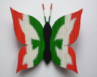 "Butterfly ""Italia h 13 x 13"" with toothpicks and hand painted"