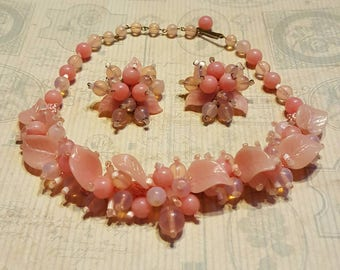Rare Vintage 1940s Pate De Verre Hand Poured Glass Necklace Earrings Demi-Parure Set Pink Opal Opaline Beads Hand Beaded Flowers Germany