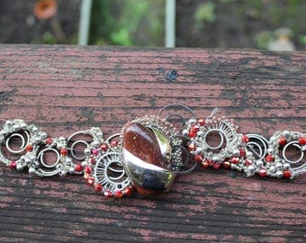 Red Natural Stone Encased in Silver