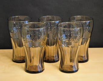 "Set of 6 Vintage Libbey Smoke Brown Coca Cola 16 oz Glasses, 6"" Coke Amber Embossed Raised Letters (5 pictured, 6 available)"