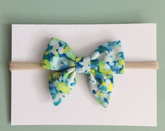 Nani Iro Blue Green Floral Hair Bow