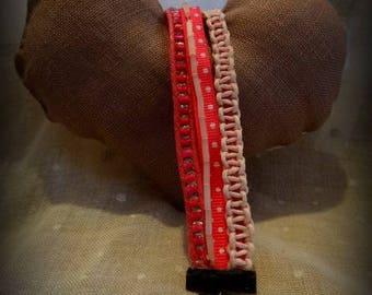 Pink fabric bead and macrame bracelet