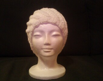 Hand-knitted white hat