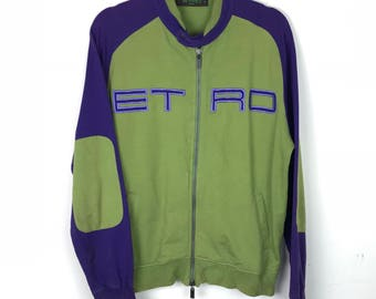 Rare!!! Etro Milano Sweater Sweatshirt Multicolors Spellout Embroidery Double Pockets