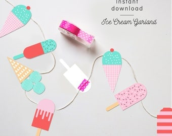 INSTANT DOWNLOAD - Ice Cream Garland | Ice Cream Banner