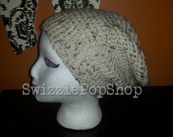 READY TO SHIP  beige tweed slouch hat