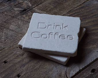 Marble Coasters/Engraved/Set of Four/Coffee Coasters/Housewarming Gift/Wedding Gift/Gift for Her/Entertaining/Coffee Table/Drink Coffee