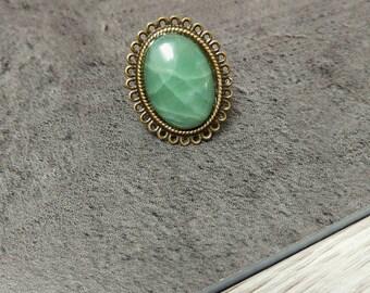 Nickel free and natural green Aventurine gemstone ring