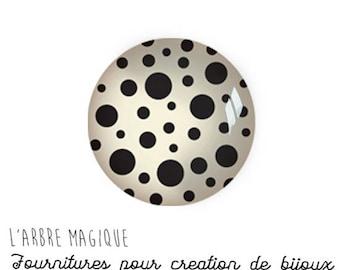 Cabochon stuck Theme small black white dots glass 25 mm - ref 793