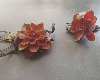 Succulent Wrist Corsage & Boutonniere Set