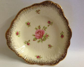 Plates. Bowls. Crown Ducal. Bristol Pink Roses. Small. Triangular. Pin Dishes. Vintage. Collectable. Set 3