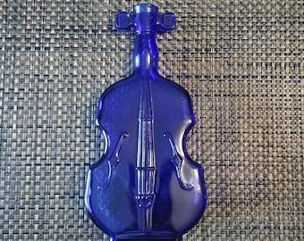 Antique Cobalt Blue Violin Cello Bottle Glass Vase 1950s