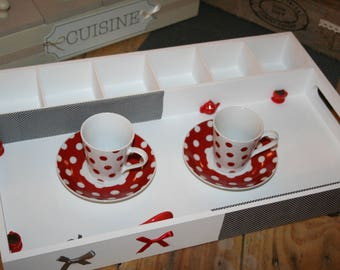 grey white tea tray and modern Red